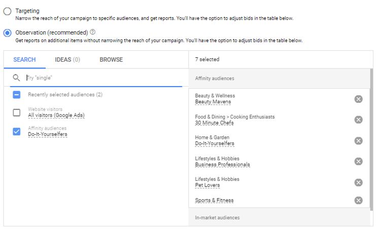 Google ads audience settings